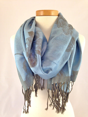 light blue floral pashmina