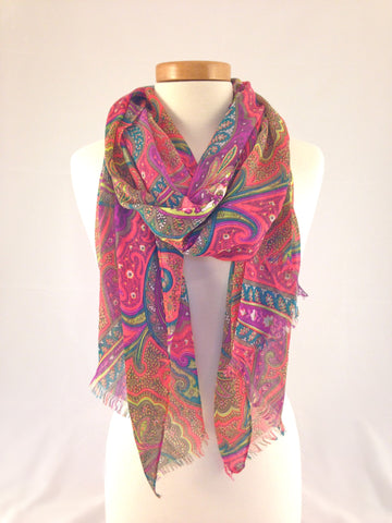 pink green yellow floral pattern scarf