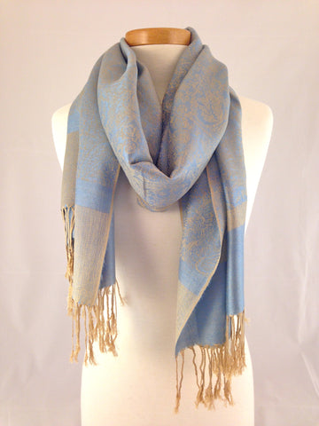 beige light blue pashmina