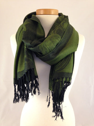 deep green rose pashmina