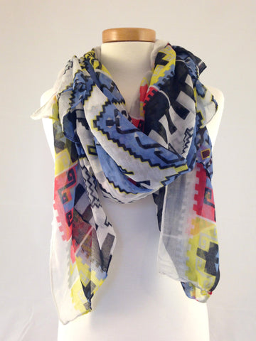 southwest pattern red blue yellow scarf