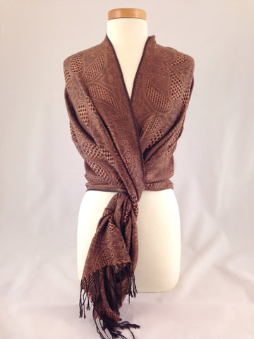 brown pattern pashmina