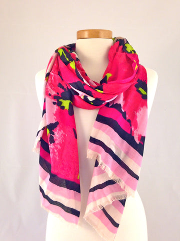 hot pink pattern scarf