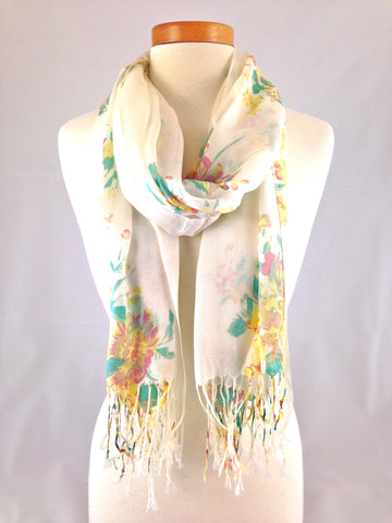 white yellow floral scarf