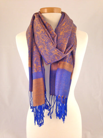 orange deep blue pashmina