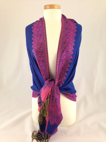 royal blue pink pashmina