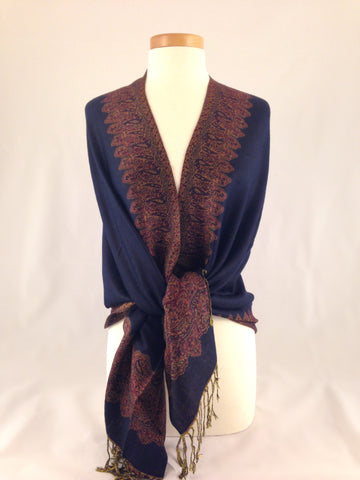 deep blue gold pashmina
