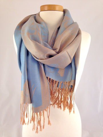 light blue tan pashmina