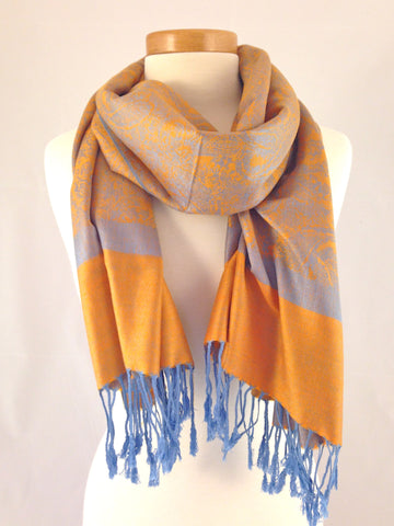 orange light blue pashmina