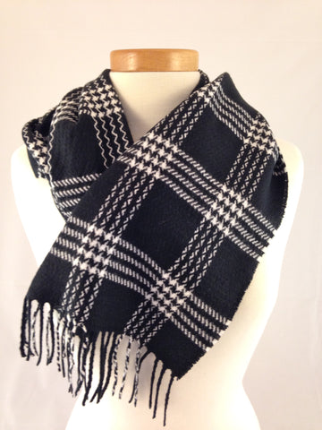 black white pattern plaid scarf