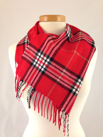 red black plaid burberry scarf