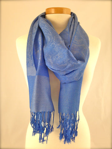 light blue pattern pashmina