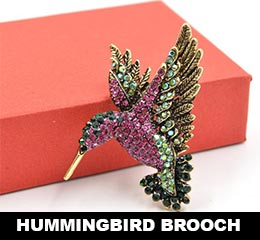 Beautiful Rhinestone Hummingbird Brooch - Great Gift Idea