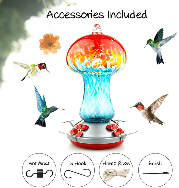 Bright Blue and Red Hand Blown Glass Hummingbird Feeder - Holds 28 oz of Nectar