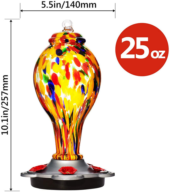 Beautiful Yellow Hand Blown Glass Hummingbird Feeder - Holds 25 oz of Nectar