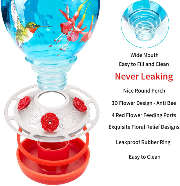 Blue Birds and Floral Glass Hummingbird Feeder - Holds 38 oz of Nectar