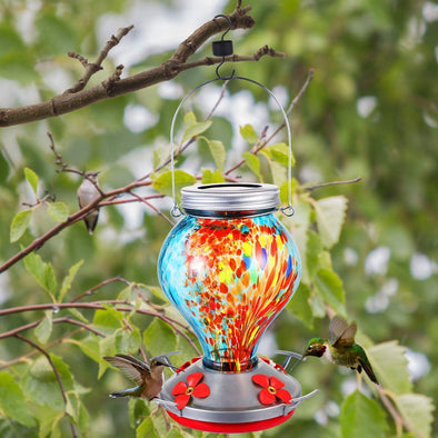 Beautiful Blue Hand Blown Glass Hummingbird Feeder with Solar Lights - Holds 25 oz of Nectar