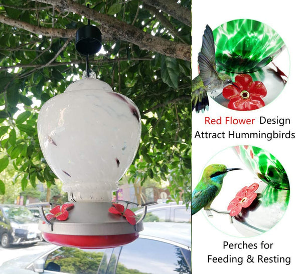 White Feather Hand Blown Glass Hummingbird Feeder with Perch - Holds 38 oz of Nectar