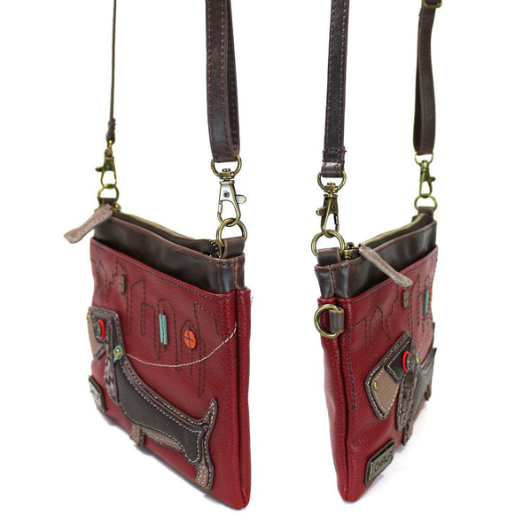 Weiner Dog Mini Crossbody Bag in Burgundy