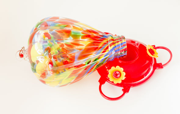 Best Colorful Red Glass Hummingbird Feeder With 3 Nectar Flowers in Beautiful & Unique Design