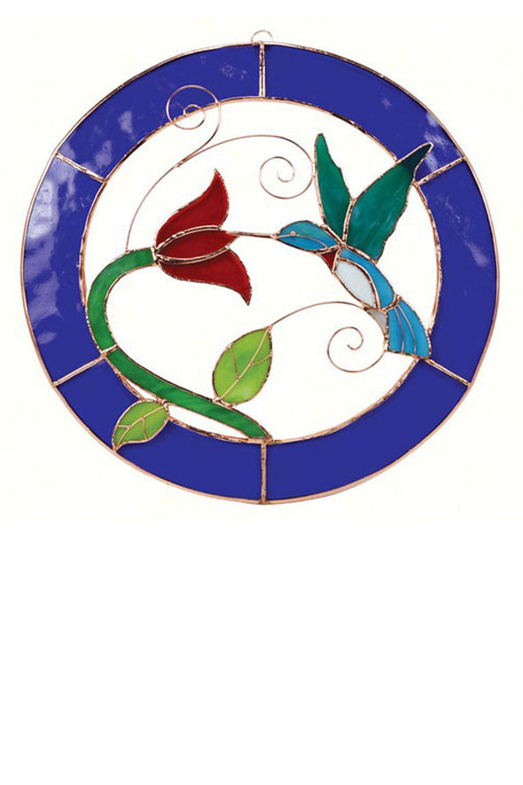 "Blue-Framed 13"" Circle Hummingbird Stained Glass Panel - We Love Hummingbirds"