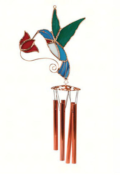 Hummingbird with Red Flower Wind Chime - We Love Hummingbirds