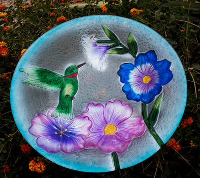 Beautiful Glass Hummingbird Bird Bath - Perfect 19 Inch Size with Unique Floral Design - Perfect Gift for Hummer Lovers!