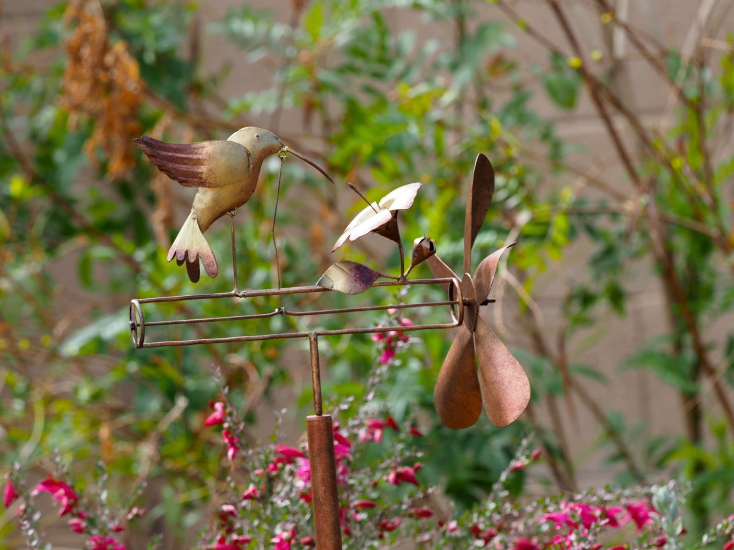 Beautiful Copper Hummingbird Whirligig Spinner