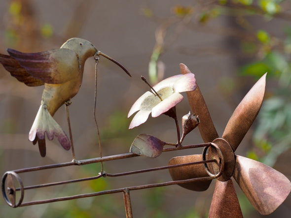 Beautiful Copper Hummingbird Whirligig Spinner - Perfect Gift Idea!