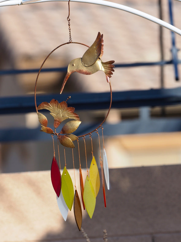 Beautiful Copper Hummingbird Wind Chime
