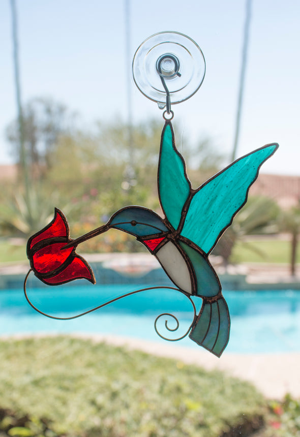 Skinny Ant Moat and Stained Glass Hummingbird Suncatcher Bundle - Perfect Gift Idea for Hummingbirds Lovers!