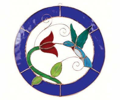Large Hummingbird Stained Glass with Blue Circle Frame for Window Panel