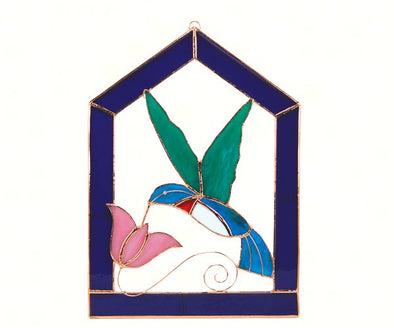 "Large Hummingbird Stained Glass for Window - 10"" x 14"" Purple Steeple Frame with Suncatcher"