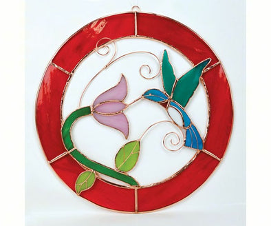 Large Hummingbird Stained Glass with Red Circle Frame for Window Panel