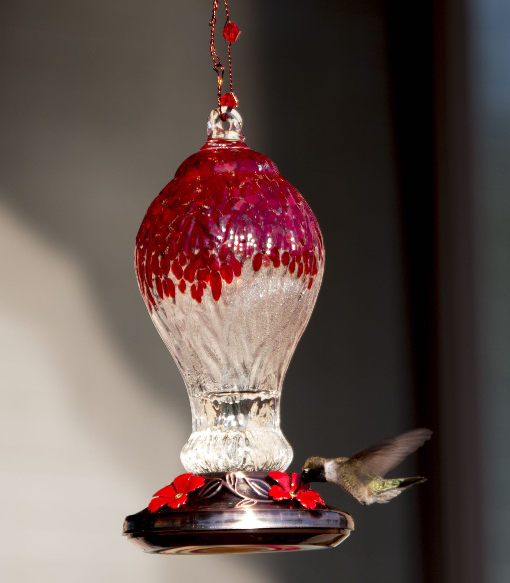 Beautiful Hummingbird Feeder With Red Drip Glass And Copper Finish With 4  Nectar Feeders   We