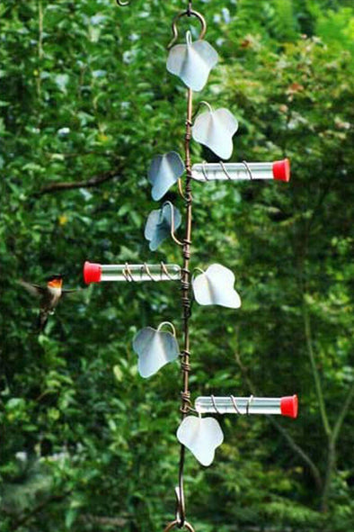 Copper Ivy Plant Hanger with 3 Hummer Feeder Stations - We Love Hummingbirds