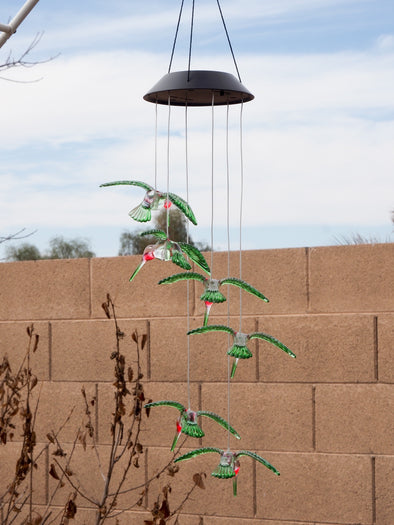Beautiful Hummingbird Solar String LED Light Mobile - Beautiful Painted Hummers!