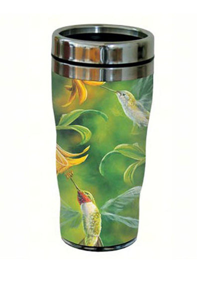 Ruby Throated Hummingbird Wings Travel Tumbler - 16 oz - We Love Hummingbirds
