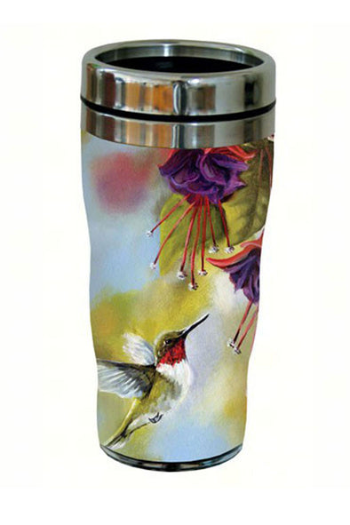 Ruby Throated Hummingbird and Fuchsia Travel Tumbler - 16 oz - We Love Hummingbirds