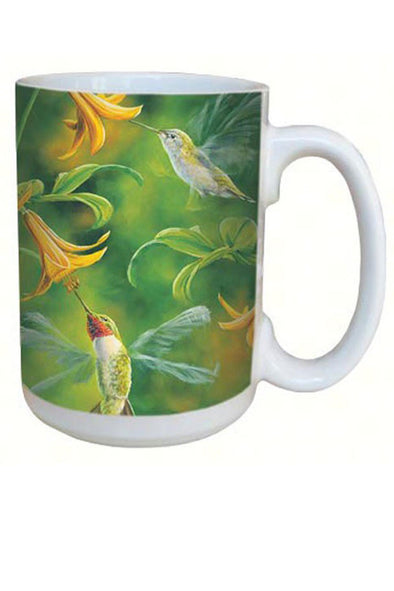 Ruby Throated Hummingbird Wings Mug -15 oz - We Love Hummingbirds