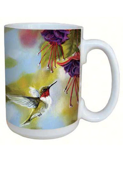 Ruby Throated Hummingbird and Fuchsia Coffee Mug - 15 oz - We Love Hummingbirds