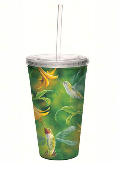 Ruby Throated Hummingbird Wings Cool Cup with Straw - 16 oz - We Love Hummingbirds