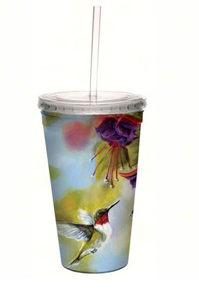 Ruby Throated Hummingbird and Fuchsia Cool Cup with Straw - 16 oz - We Love Hummingbirds