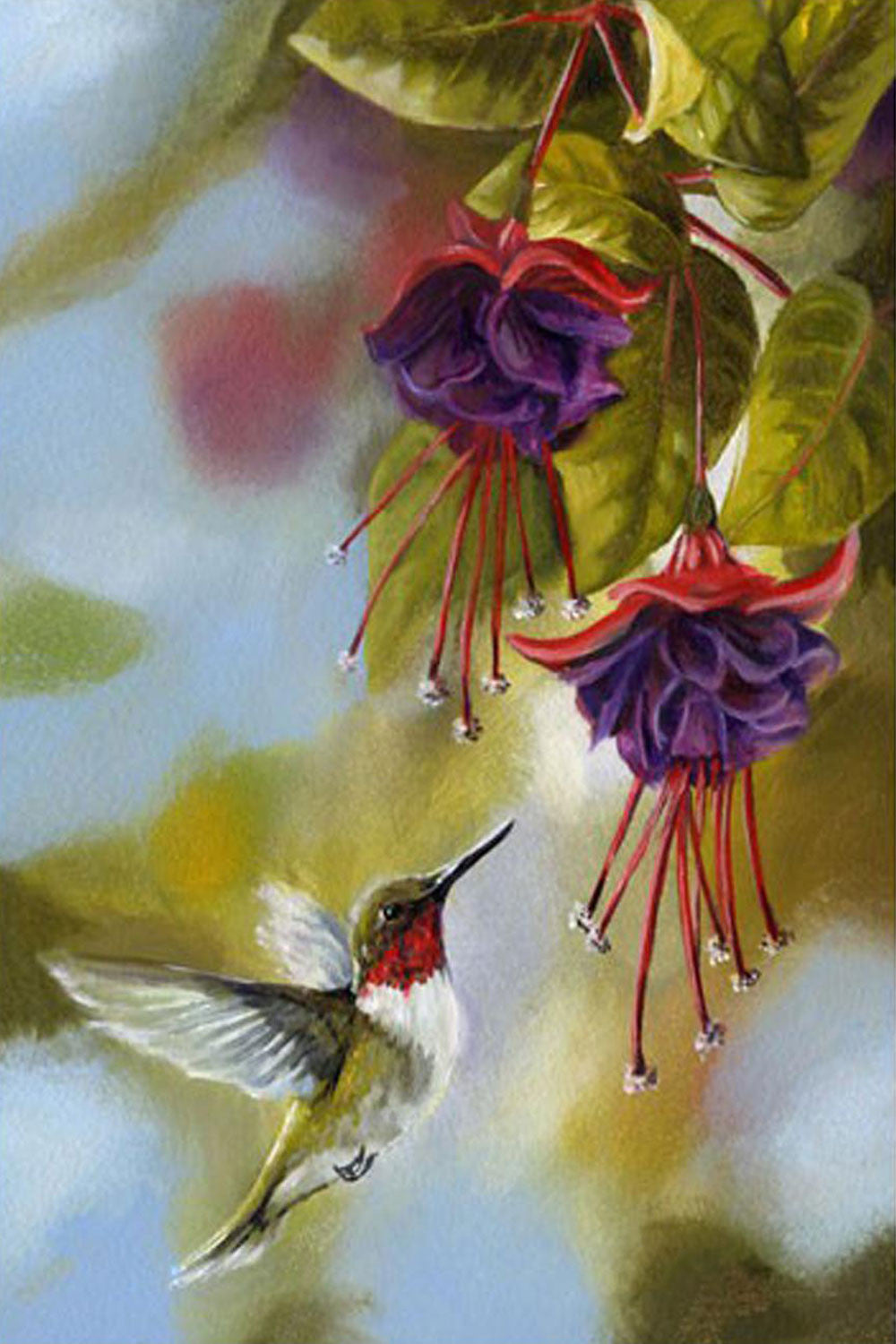 Hummingbirds and Fuchsias Garden Flag - We Love Hummingbirds