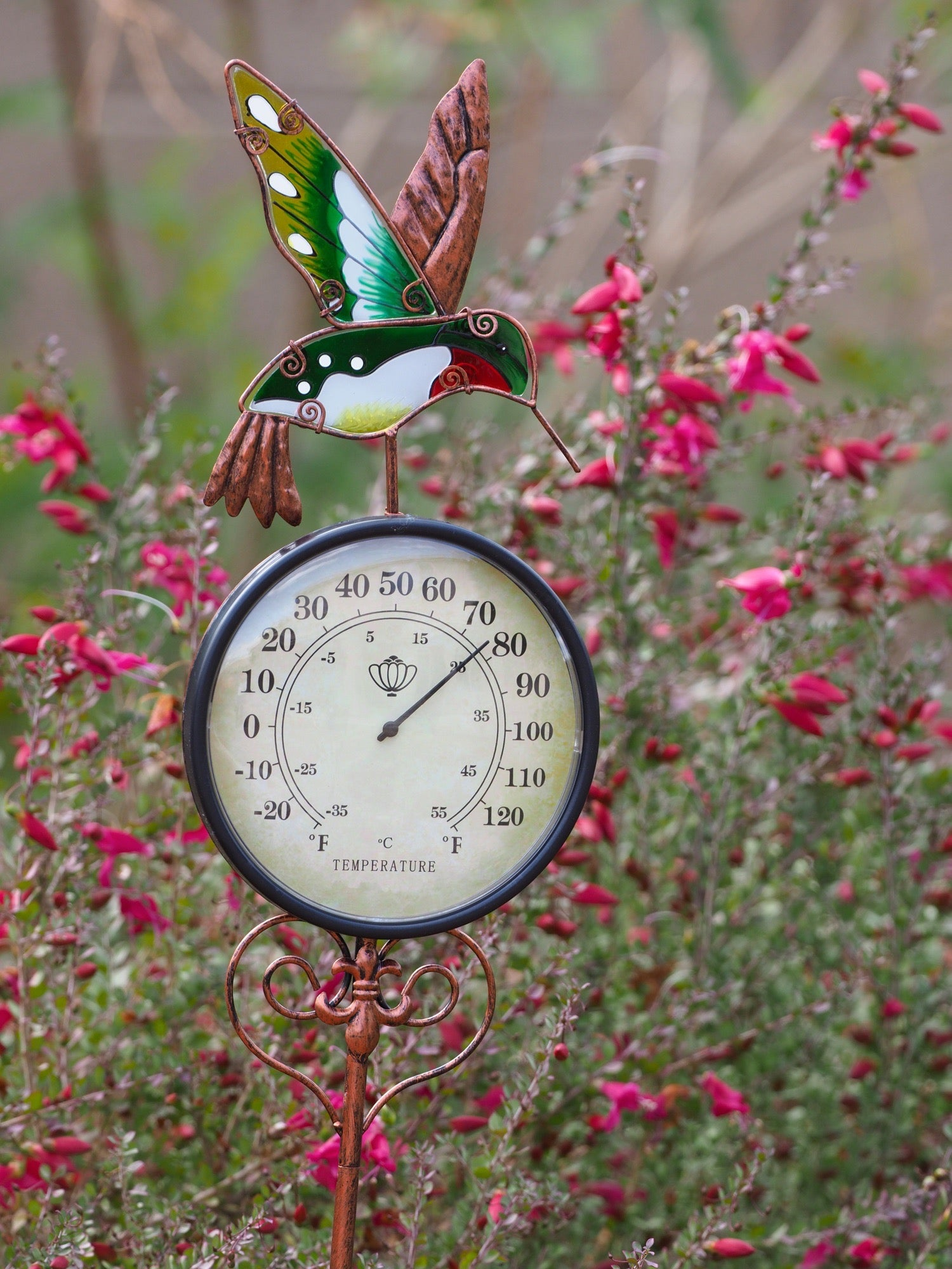 Beautiful Hummingbird Thermometer with Built-in Stand & Colorful Suncatcher