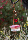 Beautiful Red Glass Hummingbird Feeder with Heart