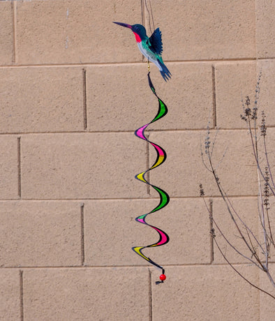 Ruby Throated Hummingbird Twister - Spins in the Wind with Colorful 3D Shapes!
