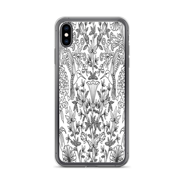 Black and White Hummingbird iPhone Case