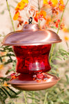 Red Glass & Copper Hummingbird Feeder - We Love Hummingbirds - 1