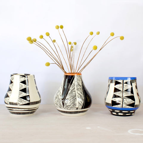 Ceramic Vessels, handthrown, handpainted, stoneware, earthenware